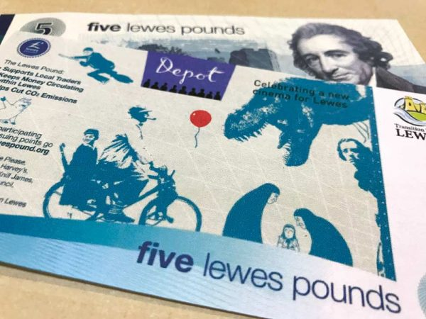 The Lewes Pound Local Currency Celebrating Lewes Depot Back 5LP image