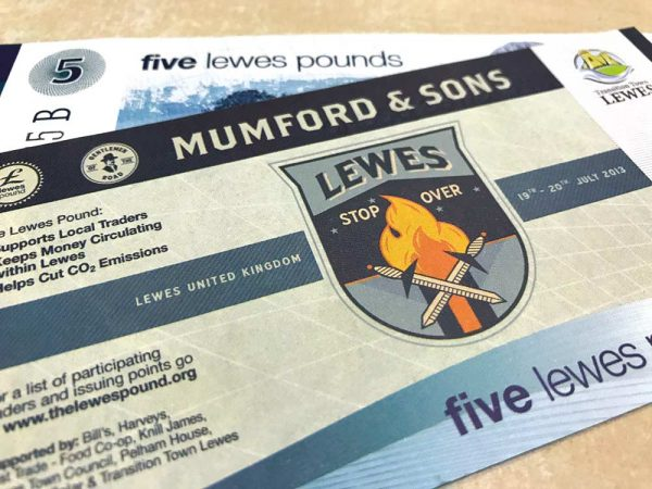 The Lewes Pound Local Currency Celebrating Mumford and Sons image
